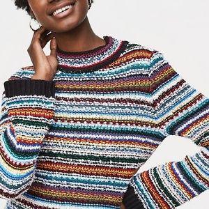 LOFT Rainbow Stitch Striped Sweater Mock Neck M